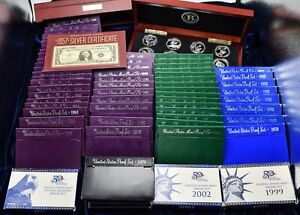 Lot of 66 Assorted Proof Sets, Silver Certificate, WWII Bomber Sets 1957-2016