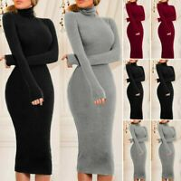 Long Dress Sweater Winter Women Slim Fitness Jumper Party Turtleneck