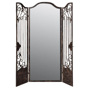AF Range : Metal Iron Screen with Mirror : Room Divider : Floral Pattern