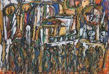 Martin Kaelin Signed Mid Century Modern Acrylic-Abstracted City Street/Figures