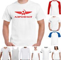 Aeroflot Rétro Russo Compagnie Aeree T-Shirt Soviet Union Martello e Falce Top