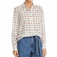EQUIPMENT NEW Women's Printed Silk Blend Sheer Button Down Shirt Top XS TEDO