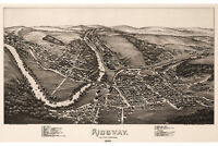 Ridgway, Elk County, Pennsylvania. Antique Birdseye Map; 1895