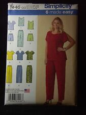 Plus Size Womens Pattern Easy Top Pants Shorts Simplicity 1446 Sz GG 26W-32W NEW