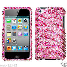 Apple iPod Touch 4 Snap-On Diamond Case Cover Accessory Pink Zebra