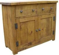 REAL SOLID WOOD SIDEBOARD DRESSER BASE CUPBOARD DRAWERS CHUNKY RUSTIC PLANK PINE