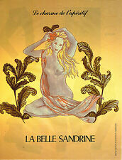 PUBLICITE ADVERTISING 054 1987  LA BELLE SANDRINE  le charme de l'apéritif