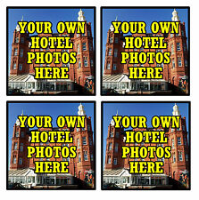 PERSONALISED COASTERS - YOUR OWN HOTEL PHOTOS  - SET OF 4 COASTERS - GIFT- NEW