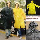 New Mens Rain Coat Heavy Duty Long PVC Rain Wear/Rain Jacket Sizes:M, L, XL, 2XL