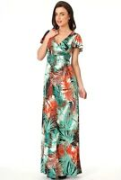Long Green Tropical Print Maxi Summer Dress 8-10-12-14-16 Day-Evening-Holiday
