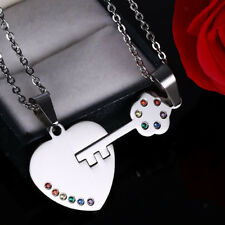 Steel Rainbow Crystal Couple Pendant Necklace for Gay Lesbian Pride Promise