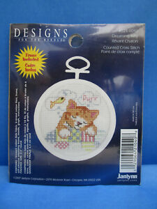 DREAMING KITTY Cat Counted Cross Stitch Kit with Round Frame by Janlynn