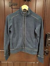 KAVU Fleece Jacket Womens Small Blue Green Full Zip Sweater Athletic Textured