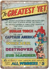 "Human Torch Captain America Whizzer Comic 12"" X 9"" Retro Look Metal Sign J113"