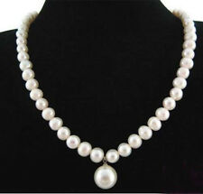 Real Natural 7-8mm White Pearl & 12mm White Shell Pearl Pendant Necklace 18''