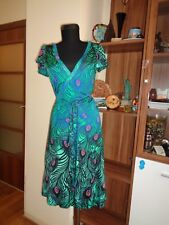 MATHEW WILLIAMSON FOR H&M VISCOSE JERSEY MULTICOLORED PEACOCK PRINT WRAP DRESS-S