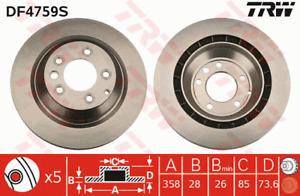 TRW Brake Rotor Rear DF4759S fits Volkswagen Touareg 5.0 R50 TDI (7L) 257kw