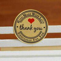 Round Paper Labels 'Thank you, Hand with love' Gift Stickers Craft Food Hot K0I2