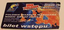 Ticket Basketball EC NEBL 2011 Polonia Warszawa Magic Great Danes Poland Denmark