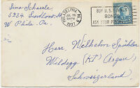 USA 1937, 5 C Roosevelt single postage on very fine cover BONDS slogan