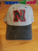 NCAA Zephyr Nebraska Cornhusker Hat Adjustable Gray and Black Leather Brim