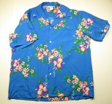 70s Vintage HAWAI'I NEI Hawaiian Floral Tropical Button Up Shirt Adult Sz. Large