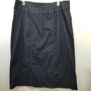 Woman Within 22W Skirt Long Modest Church Dark Wash No Slits Stretch Denim Jean