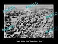 OLD LARGE HISTORIC PHOTO OF TAMPA FLORIDA, AERIAL VIEW OF THE CITY c1930