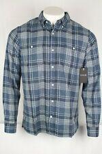 New Hurley Men's Aaron Flannel Button Down Shirt Size Large Noise Auqa F5639-00