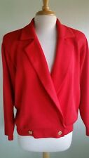 St. John Knit Vintage 80's Red Sweater Double-Breasted Shoulder Pads Sz Petite