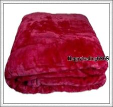 800gsm Supersoft & Thick SINGLE BED MINK Blanket Bedspread Hot Pink 1.6 m x 2.2m