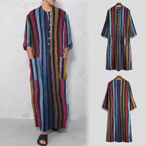 Mens Boho Long Sleeve Sleep Nightshirt Nightgown Pajamas Loose Pullover Striped
