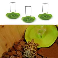 Reptile Pet Tortoise Automatic Food Drink Water Dispenser Feeder Round·Tray