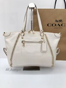 NWT Coach F34339 Whiplash Leather Prairie Satchel Handbag Light Gold Chalk $595