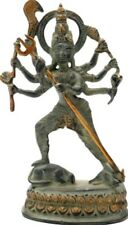 "NICE God Standing Durga Avatar Jai Kali Statue 7.8""Green Brass Hindu Figure 1 KG"