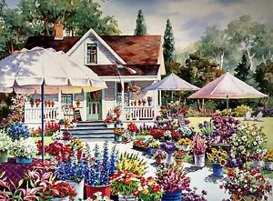 Country Flower Market Print by Erin Dertner