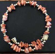 Adjustable Bracelet - Euc Gold Tone and Coral