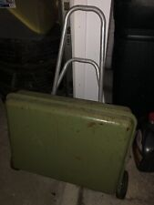 Mid Century Olive Green Metal Portable Charcoal Grill On Wheels