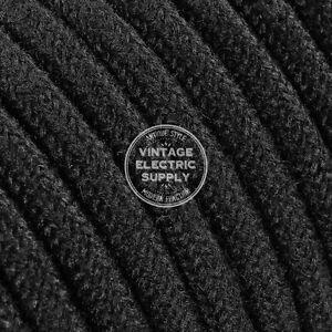 Black Round Raw Yarn Cloth Covered Electrical Wire - Braided Yarn Fabric Wire