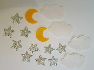 16 Piece Embellishment pack. Felt die cuts. Clouds,moons and stars