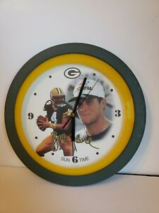 Brett Favre Wall Clock - Younger Looking Favre - Packers Green & Gold Trim