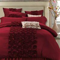 4/6Pcs Luxury Red Wedding Bedding Set  Bed Set  Bed Sheet Satin Cotton Duvet