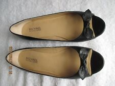 Women's Shoes Michael Kors 7M Black All Leather Peep Toe w Bow Ballet Flats New