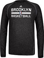 Brooklyn Nets Heather Black Climalite Practice Long Sleeve Shirt by Adidas