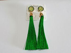 Vintage Boho Long Green Tassel Drop Earrings Cotton Silk Fashion Jewellery