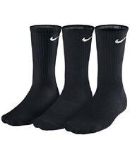 NEW! NIKE Crew Socks Size L- 8-12  Men's BLACK  Men- Women 3 PAIR