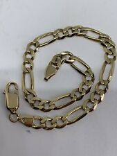 SOLID HEAVY 9CT YELLOW GOLD FIGARO BRACELET - 8 INCHES