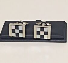 Stratton of Mayfair Mother of Pearl Chequered Snakes & Ladders Cufflinks