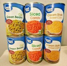6 CAN Great Value Vegetables 2 ea Sliced Carrots- Cream Style Corn - Green Beans