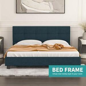 Queen Size Metal Bed Frame, Upholstered Linen Headboard Wood Slats Support, Blue